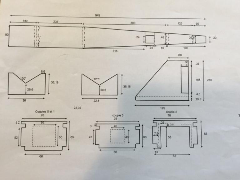 Plan des éléments du fuselage